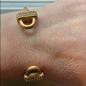 J Crew open bangle brushed gold/faux diamnd detail